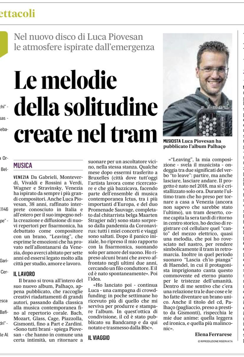 Luca Piovesan - Il gazzettino 7 gennaio 2021